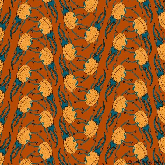 Beetle pattern1 burnt orange