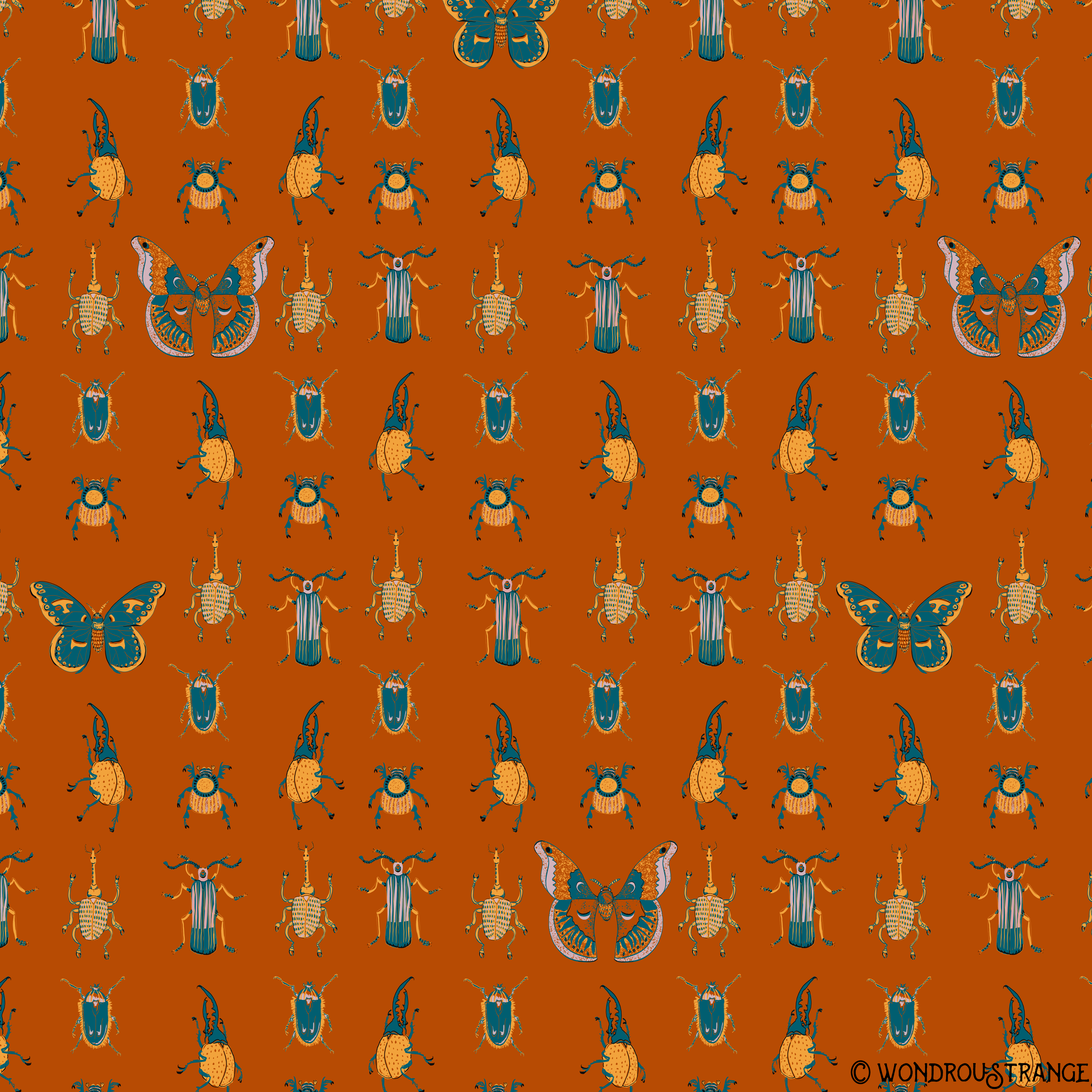 Beetles and Butterflies pattern