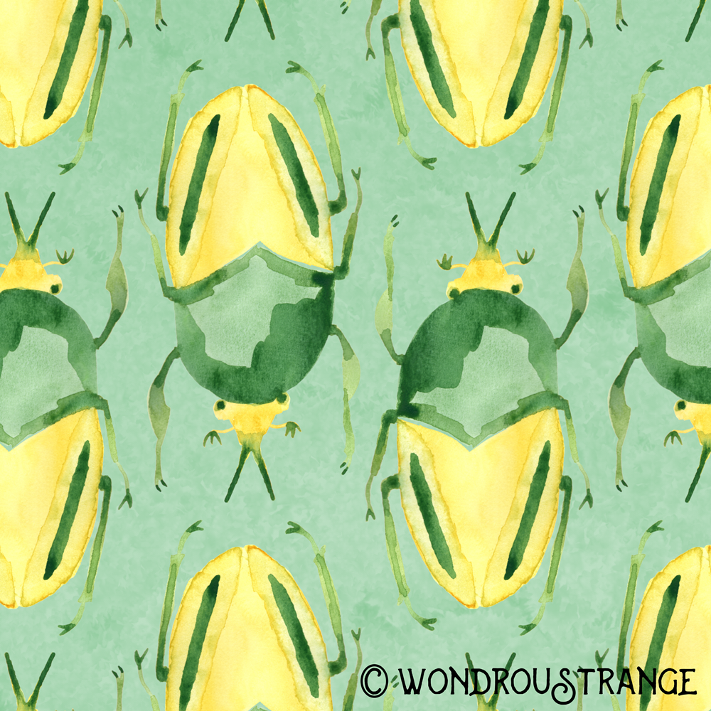 green and yellow beetle pattern display