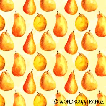 Painted pears pattern display