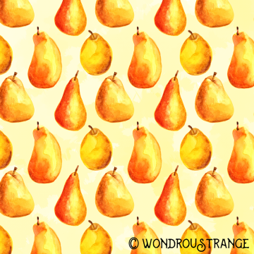 Painted pears pattern display