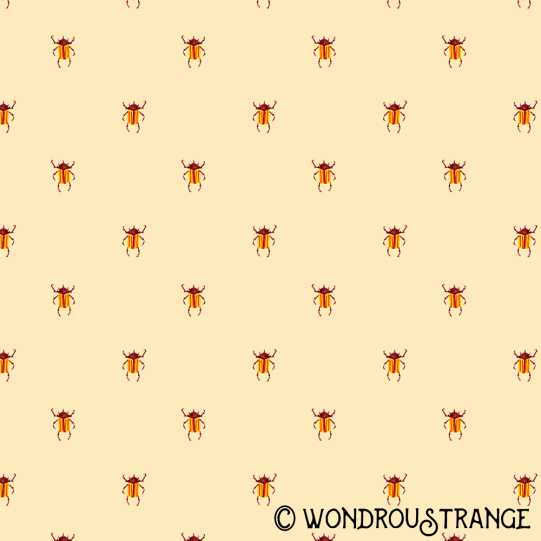 Red and yellow stripey beetle pattern display