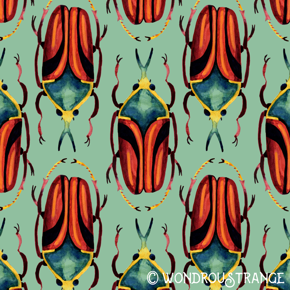 Red yellow blue beetle pattern display