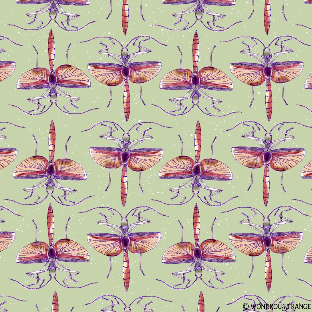 watercolor bug pattern1
