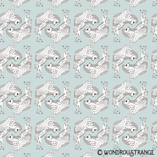Owl 5 Pattern Display blue