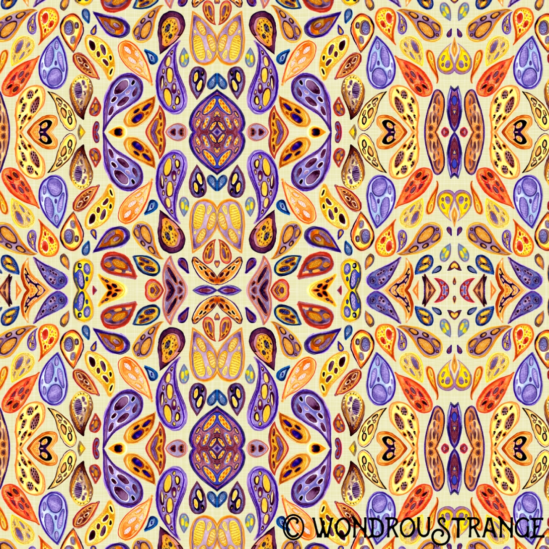 Mirrored yellow paisleys c